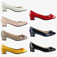 Womens Block Heel Bow Patent Court Pumps Ladies Office Ballerina Flat Shoes AU