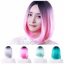 Women Girls Gradient Short Straight Bob Hair Wig with Wig Cap for Cosplay Party