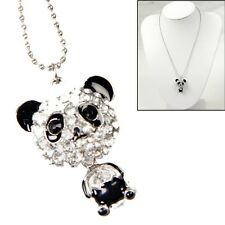 Silver Plated Crystal Rhinestone Move Head Panda Pendant Necklace Chain Jewelry