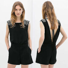 Backless Handmade Beads Women's Romper Jumpsuit Overalls Playsuit Shorts Pockets