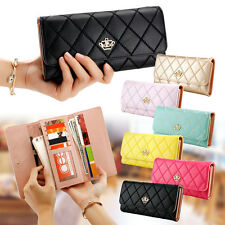Women Lady Zipper PU Leather Clutch Coin Phone Bag Long Purse Wallet Card Holder