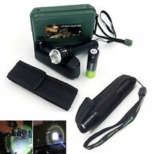 Tactical 5000lm Zoomable XM-L T6 LED Flashlight Torch+18650 Battery+Charger+Case