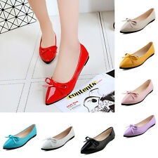 Sweet Women Candy Color Pointed Toe Patent Leather Slip On Ballet Flat Shoes C