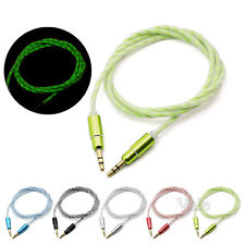 1M GLOW Light UP 3.5mm Jack to Jack Car MP3 PC Stereo Audio Auxiliary Cable Lead