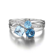 Bright Unique 1.7ct  Swiss London Blue Topaz 3 Stones Ring 925 Sterling Silver