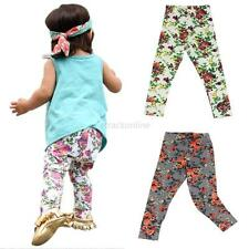 Fashion Toddlers Girls Floral Long Pants Trousers Soft Cotton Baby Leggings S-XL
