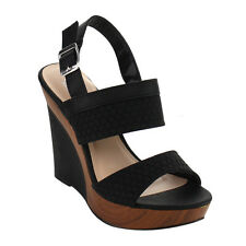 ANGELINA FG38 Women's Double Bands Slingback Platform Wedge Sandals New In Box