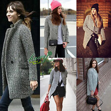 Women Lapel Wool Cashmere Coat Trench Jacket Long Parka Tartan Overcoat Outwear