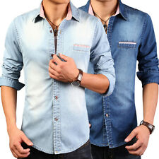 Fashion Mens Casual Denim Shirt Luxury Vintage Wash Jean Slim Fit Shirts Tops EW