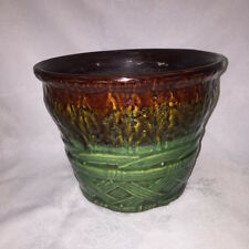 MCCOY POTTERY - JARDINIERE PLANTER FLOWER POT BLENDED BROWN GREEN DRIP GLAZE