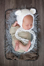 Handmade Crochet Fuzzy Teddy Bear Baby Bonnet Unisex Baby/Newborn Photo Prop