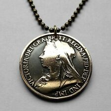 UK Great Britain 1 Penny coin pendant Queen Victoria British necklace n001616