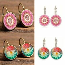 Silver Creative Gem Retro Henna Earrings Bohemia Jewelry Antique Bronze