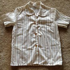 Vintage 1980s Girl Scouts Brownies shirt white with brown/tan stripes, size 6
