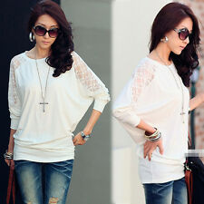 Stylish Womens Solids White T-shirt Batty Sleeve Round Neck Loose Fit Casual Top