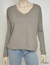 James Perse Boxy V-Neck Pullover Sweater Top WXT3963 Ghost 2/3 M/L $115