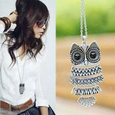 Vintage Jewelry Pendant Necklace Long Chain Owl