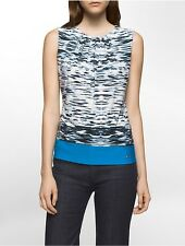 calvin klein womens brushstroke pleat neck sleeveless top shirt