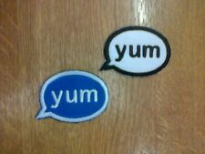 1 x Iron 'n' Sew On Embroidered Patch Cute Speech Bubble YUM
