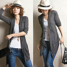 Personalized Open Front Asymmetric Hem Womens Cardigan Style Tops Outwear Thin