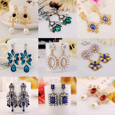 1 Pair Womens Fashion Pearls Rhinestone Dangle Ear Stud Earrings Crystal Jewelry