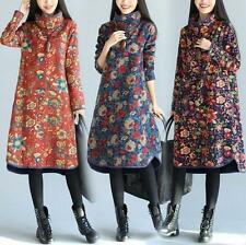 Ethnic Chinese Womens national loose cotton linen long sleeve dress Coat Sz