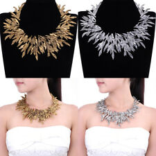 Vintage Leaf Leaves Style Chain Chunky Choker Statement Pendant Bib Necklace New