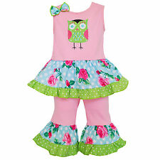 AnnLoren Girls Boutique Spring Time Pink Owl Tunic and Capri Outfit