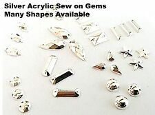 SILVER Faceted Acrylic Sew on Studs, Stitch on, Stick on Rhinestone Gems CRAFT
