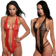 Women Ladies Sexy Lace Floral Lingerie G-string Deep V-neck Backless Nightwear