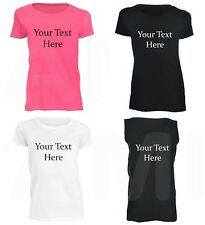 Personalised Womans T-Shirts & Vests Custom Choose Own Text / Design Pink White