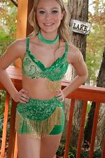 Emerald green custom competition dance costume jazz open pageant AXS