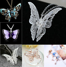 Pretty Rhinestone Crystal Butterfly Series Pendant Women Sweater Chain Necklace