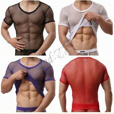 Muscle Comfy Mesh sheer Sexy Mens See Through T-Shirt Tank Top Singlet Underwear