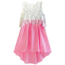 Girls Dress Sequined Hi-lo Chiffon Beach Party Sundress Age 6-14 Years
