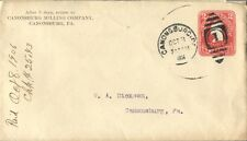 CANONSBURG MILLING COMPANY PA 1906 PMK SINGLE FRANKED NICE COVER