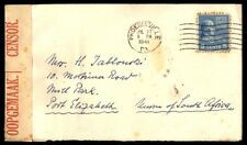 Phoenixville PA to South Africa 1941 Prexie Censored Cover