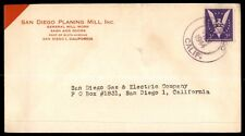 SAN DIEGO PLANING MILL INC CALIFORNIA 1944 SINGLE FRANKED AD COVER TO SAN DIEGO