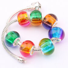 5/20Pcs Glossy Loose Big Hole Mixed Czech Glass Oval Charm Spacer Beads 14*11mm