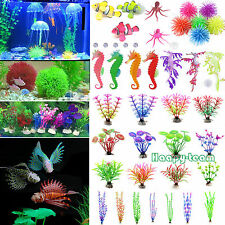 Artificial Glow Fish Grass Silicone Plant Coral Ornament Aquarium Fish Tank Dec