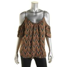 Ella Moss 0380 Womens Printed Ruched Cold Shoulder Casual Top BHFO