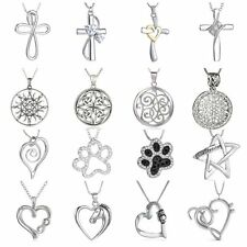 Engraved Animal Horse Footprint Heart Cross Crystal Pendant Necklace Women Gifts