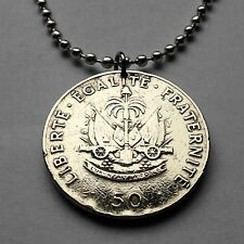 Haiti 50 centimes coin pendant Haitian necklace cannons Port-au-Prince n001556