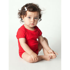 American Apparel Infant Red Rib Short-sleeved Bodysuit