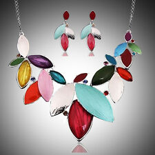 Vogue Women Colorized Leaves Shape Charm Pendant Necklace Earring Set Jewelry