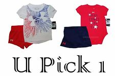Under Armour Shorts 2 pc Outfit Set Girl Bodysuit Shirt Skirt Athletic Patriotic