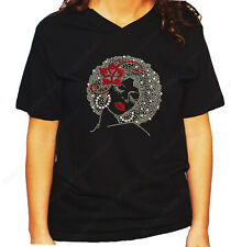 "Women's / Unisex Rhinestone T-shirt "" Afro Girl w/ Red Flower "" in Sm to 3XL"