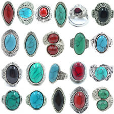 Wholesale Jewerly Lots 5 PCS Mixed Turquoise Vintage Tibet Silver Fashion Rings