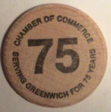 CHAMBER OF COMMERCE: SERVING GREENWICH, CT FOR 75 YRS: BUFFALO WOODEN NICKEL VTG