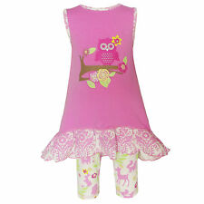 Annloren Girls Boutique Pink Cotton Springtime Owl 2-Piece Clothing Set